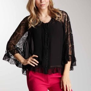 New Romeo and Juliet couture lace batwing top sz M